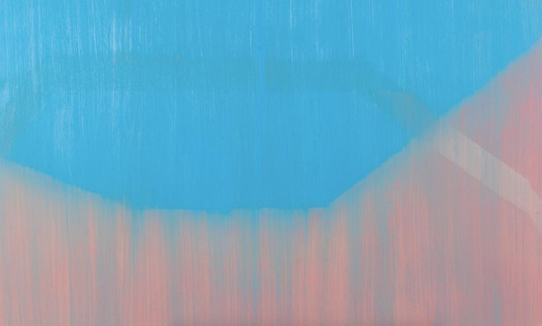 Cotton Candy, pink and blue abstract oil painting on canvas - Painting by Liz Rundorff Smith