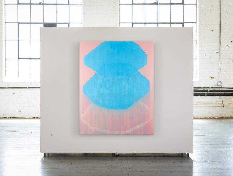 Cotton Candy, pink and blue abstract oil painting on canvas - Abstract Painting by Liz Rundorff Smith