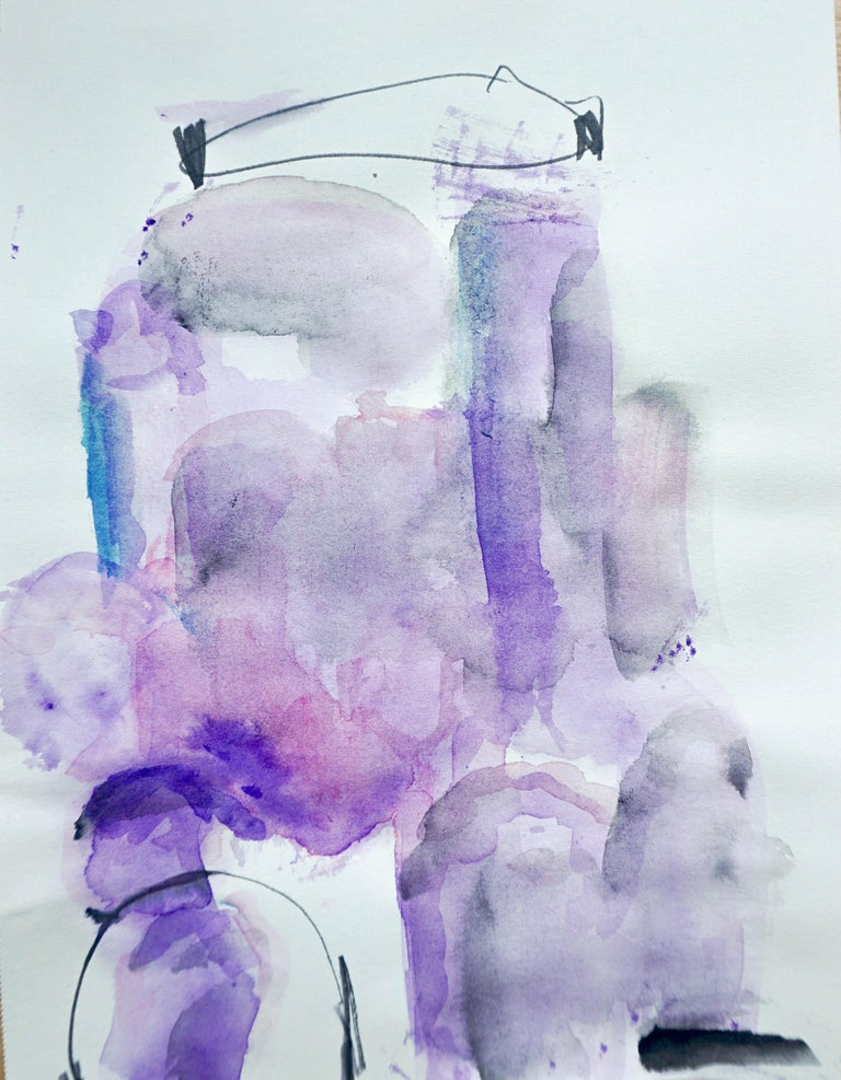 Lisa Fellerson Abstract Drawing - Tanto Tempo, purple abstract watercolor painting on archival paper