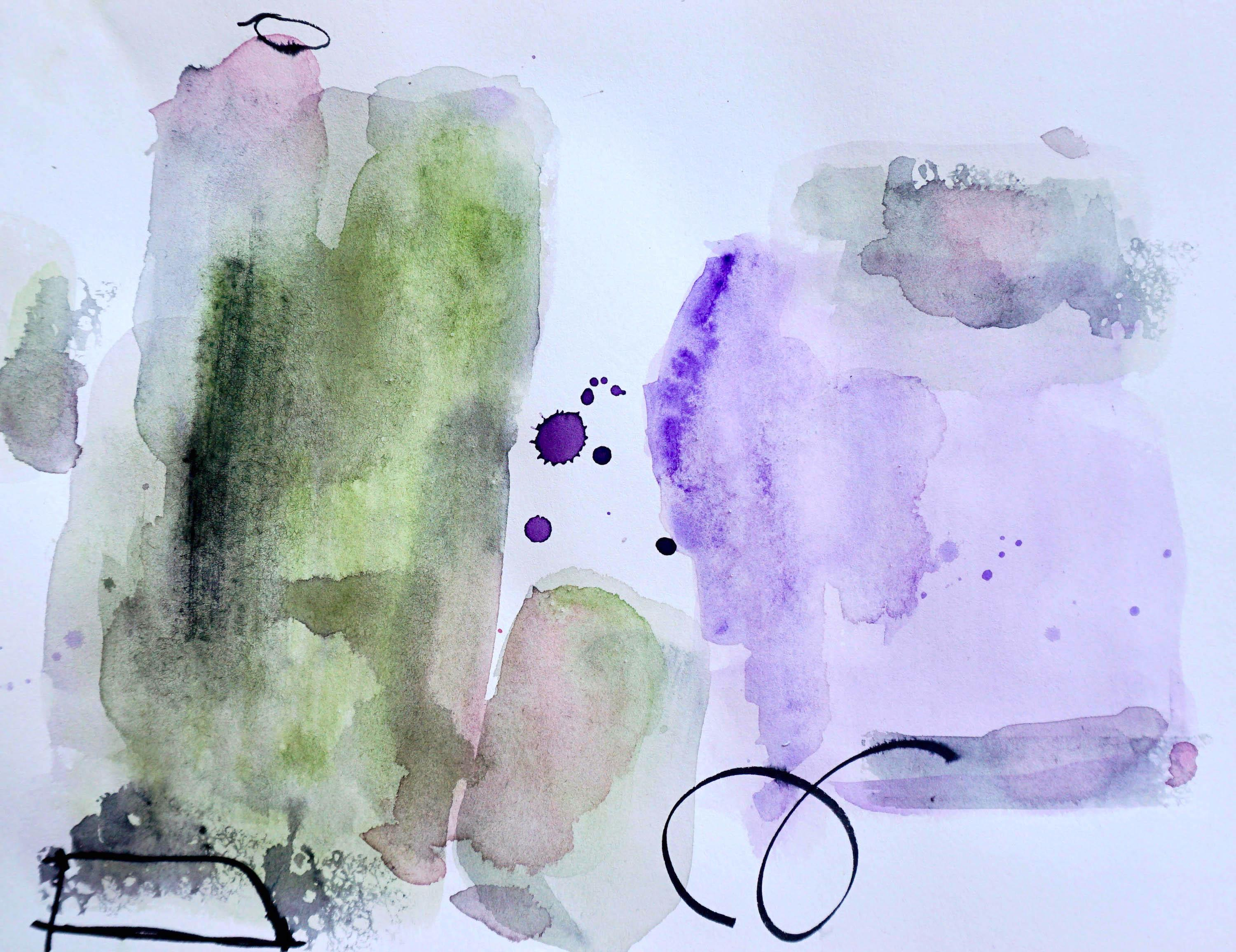 Left of Center, purple and green abstract watercolor painting on archival paper