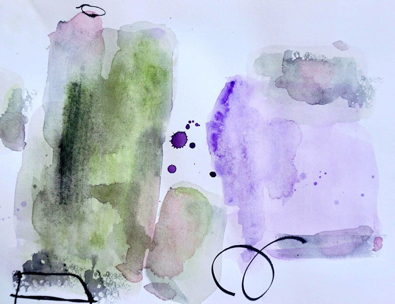 Lisa Fellerson Abstract Drawing - Left of Center, purple and green abstract watercolor painting on archival paper