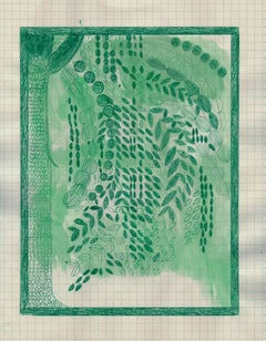 River Birch, ink drawing of green tree in backyard, work on paper
