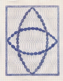 Double Vision, blue ink drawing on graph paper, geometric abstraction