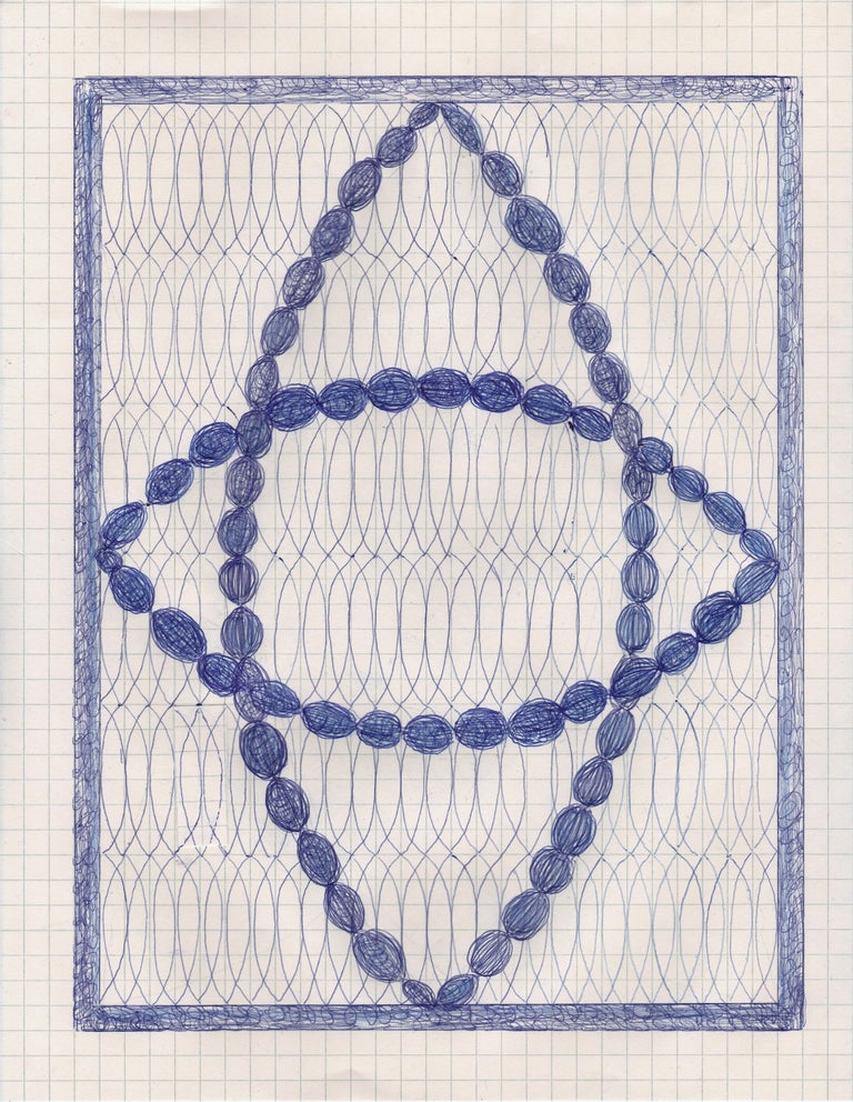 Caroline Blum Abstract Drawing - Double Vision, blue ink drawing on graph paper, geometric abstraction