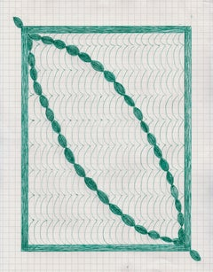 In or Out, green ink drawing on graph paper, geometric abstraction