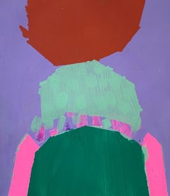 """Mask, abstract gouache painting on paper, purple, green and red, 11"""" x 9"""""""
