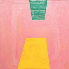 """Emblem, pink, yellow and green abstract oil painting on panel, 10"""" x 10"""""""