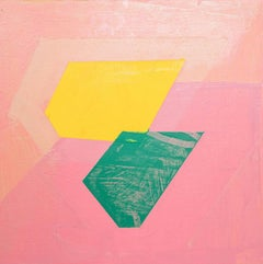 """Next, pink, yellow and green abstract oil painting on panel, 10"""" x 10"""""""