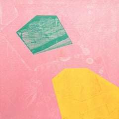 """Sign, pink, yellow and green abstract oil painting on panel, 10"""" x 10"""""""