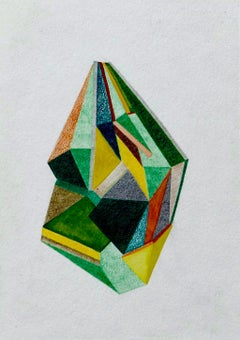 For Finn, Small Works No. 69, green geometric abstraction, work on paper
