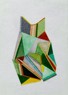 For Finn 2, Small Works No. 70, green geometric abstraction, work on paper