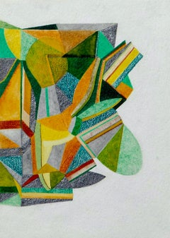 For Finn 3, Small Works No. 71, green geometric abstraction, work on paper