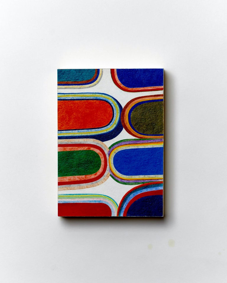 Not good enough for either side, Small Works No. 74, geometric abstraction - Art by Sasha Hallock