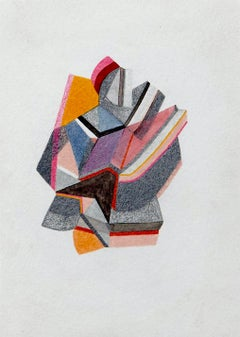 Untitled, Small Works No. 53, grey and orange geometric abstract work on paper