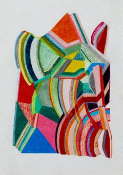 Untitled, Small Works No. 48, bright multicolor geometric abstract work on paper