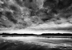 Mitchell Lake at Dusk, black and white charcoal drawing of lake scene and sky