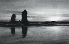 Irrepressible 4, black and white charcoal drawing of large rocks in the ocean
