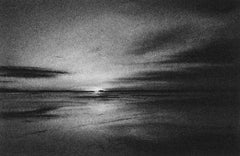 Irrepressible 11, black and white charcoal drawing of seascape and sky