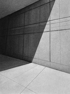 Perspective, black and white charcoal drawing of shadows against building