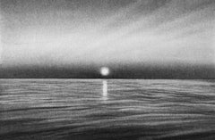 Strawberry Island Sunset, black and white charcoal drawing of the ocean