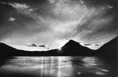 Sunrise at Mount Fuji, black and white charcoal drawing of mountains in Japan