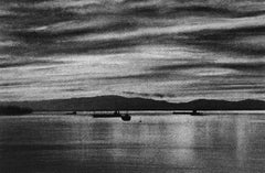 Vancouver Pier, black and white charcoal drawing of boats on the ocean