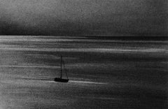 Vancouver Sail, black and white charcoal drawing of boat on the ocean