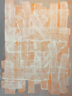 ORwW, abstract minimalist painting on canvas, grey, white and orange