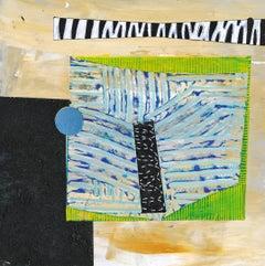 Portal #27, geometric abstract work on paper, black, blue, yellow, green