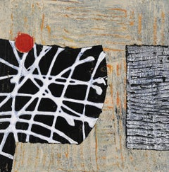 Portal #28, geometric abstract work on paper, neutral earth tones, black, white
