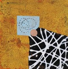 Portal #30, geometric abstract work on paper, black, white, orange, blue
