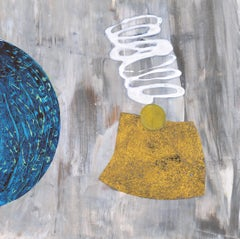 Portal #32, geometric abstract work on paper, grey, yellow, blue