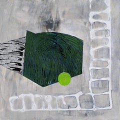 Portal #33, geometric abstract work on paper, grey, green, white