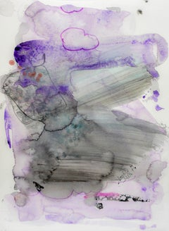 Sponge Effects, purple abstract watercolor painting on archival paper