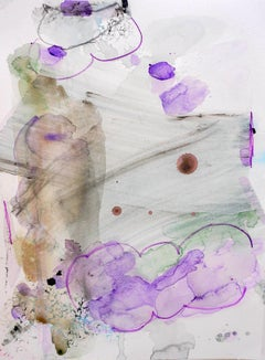 Lie on a Cloud, purple abstract watercolor painting on archival paper