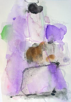 Grape Escape, purple abstract watercolor painting on archival paper