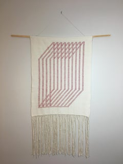 Untitled #2, fiber art wall hanging, red and beige, geometric abstraction
