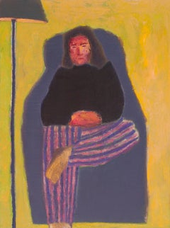 Jasper Johns, figurative oil painting of person in chair, yellow and purple