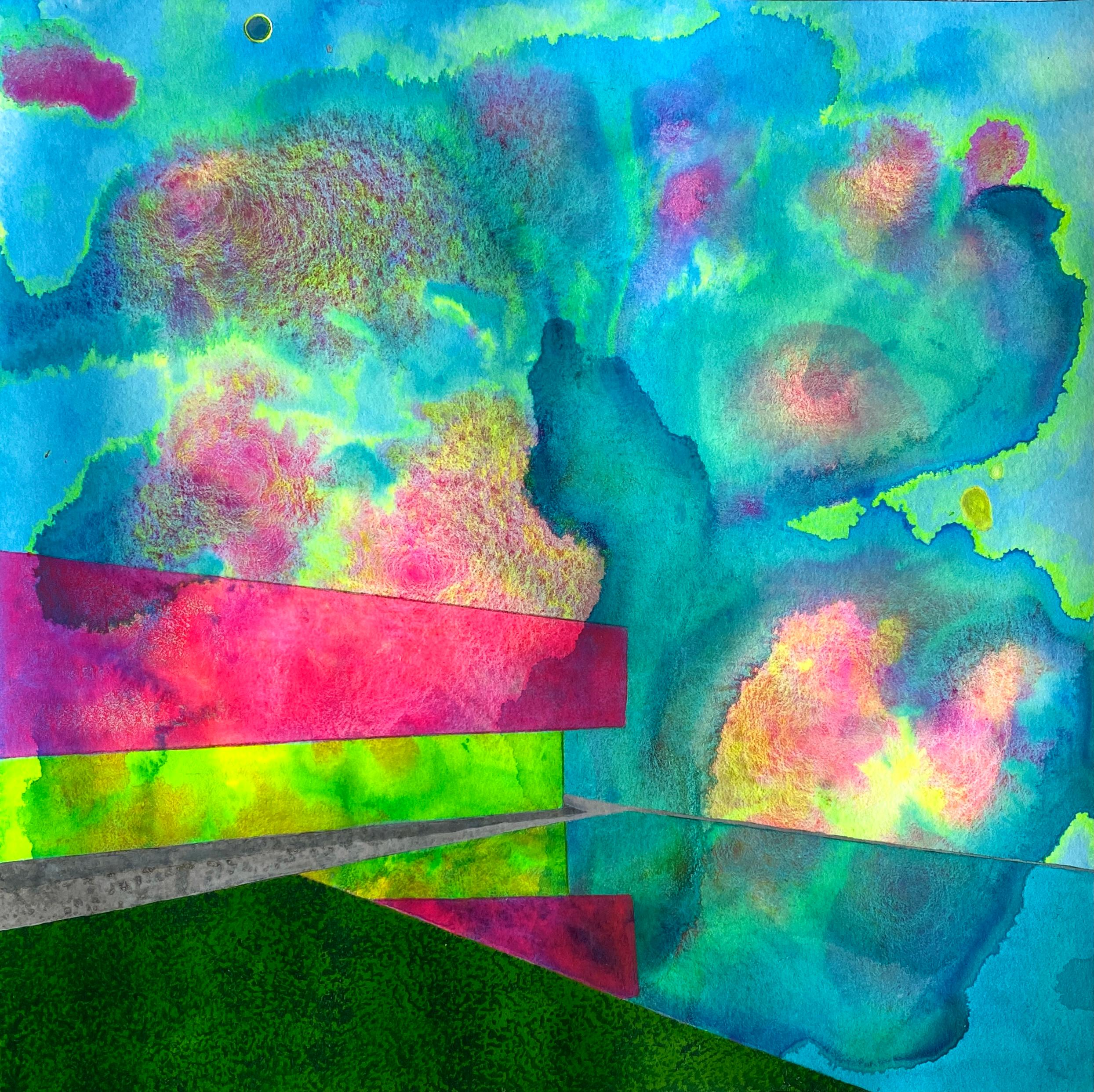 Eclipse, bright surrealistic painting of architecture against sky, neon colors