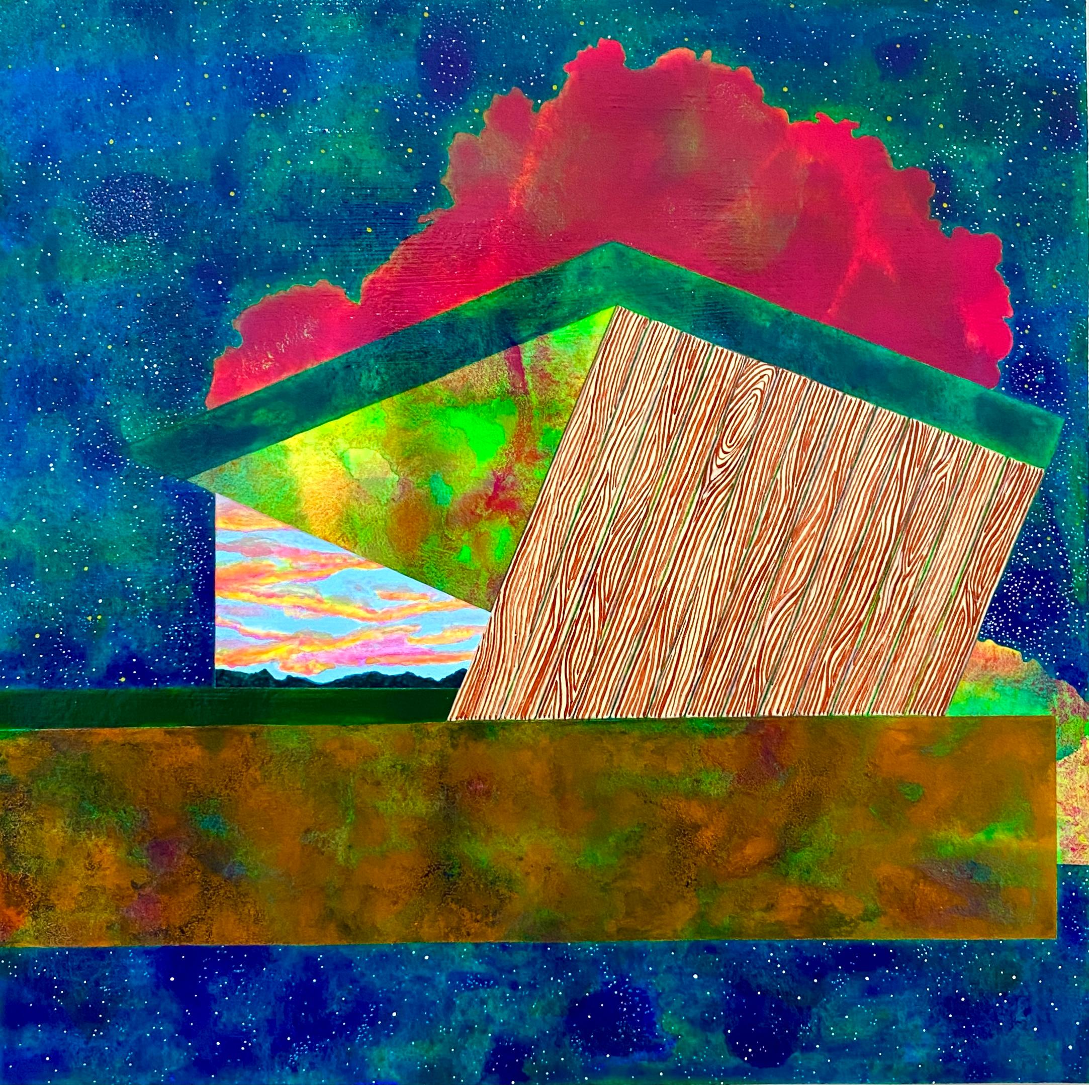 Stargazer, bright surrealistic painting of architecture against sky, neon colors