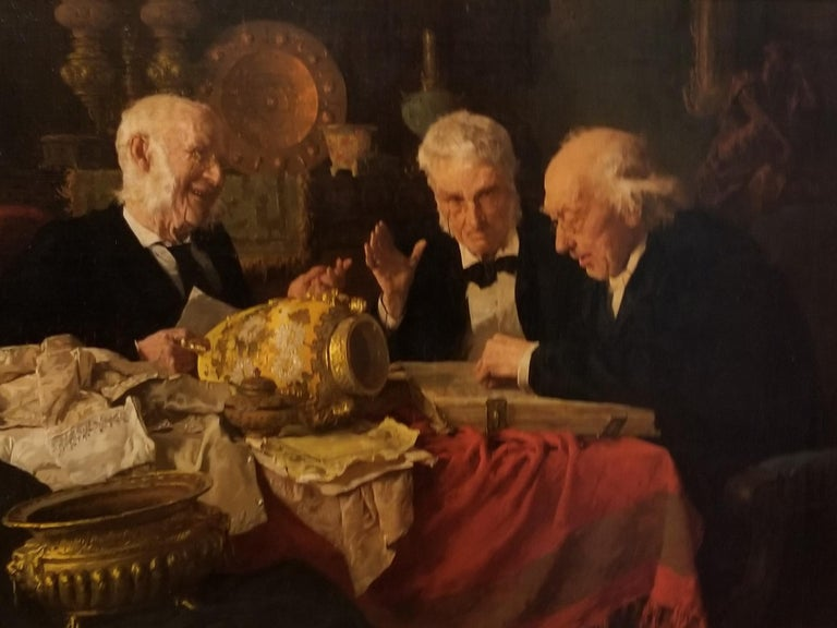 Signed lower right  A native of New York, he became one of America's foremost anecdotal genre painters in the late 19th and early 20th centuries. A favorite subject was distinguished elderly men going about everyday activities in gentile interior