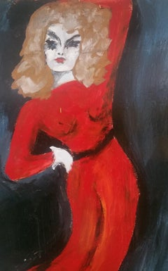 Lady Posing in a Red Dress