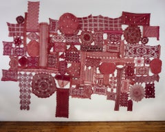 Patricia Miranda, Lamentations for Ermenegilda; 2020, lace, cochineal dye,thread