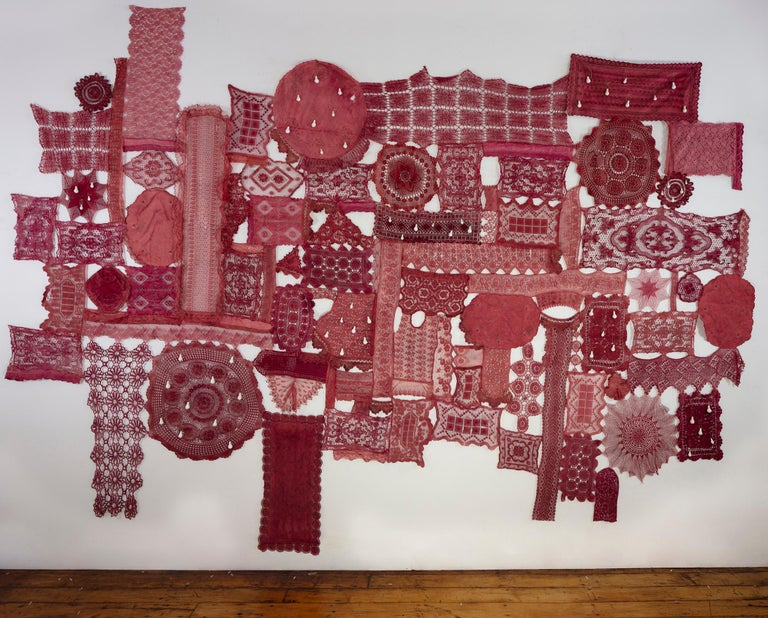 Patricia Miranda, Lamentations for Ermenegilda; 2020, lace, cochineal dye,thread - Sculpture by Patricia Miranda