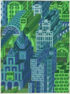 Michael Dal Cerro, End of the Line, 2020, Linocut, Urban Landscape, Modern Art