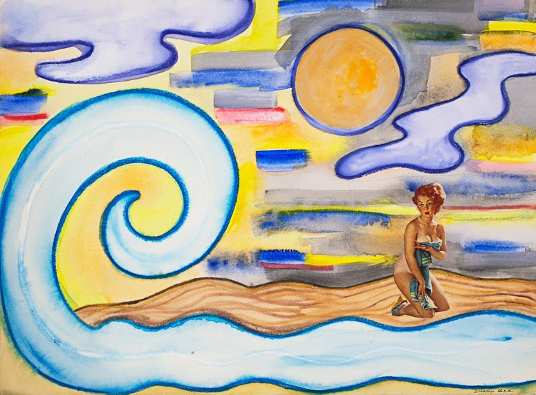 Susan Bee, Big Wave, 2006, gouache, collage, ink, crayon, colored pencil, col - Painting by Susan Bee