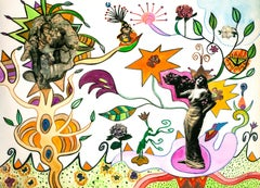 Susan Bee, Bowers ofFlowers, 2006, gouache, collage, ink, crayon, colored pencil