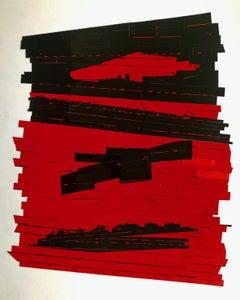 "Bob Seng, Exit 884, 2018,  scraped, collaged, EXIT signs, 35"" x 29"""