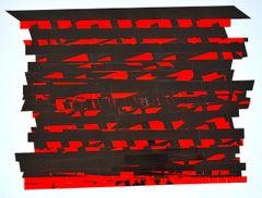 "Bob Seng, Exit 908R, 2018, scraped, collaged EXIT signs, 20"" x 26"""