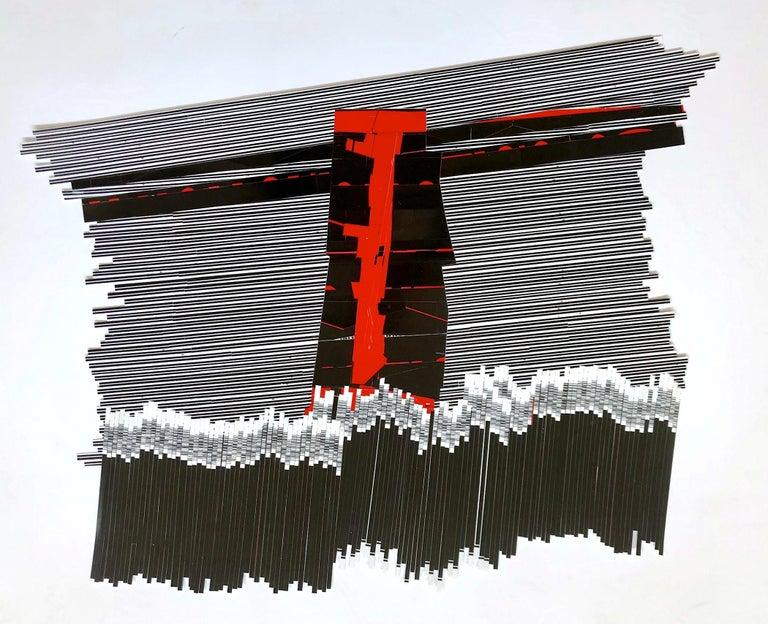 "Bob Seng, Exit 915RR, 2018, scraped, collaged, EXIT signs, 25"" x 30"" - Painting by Bob Seng"